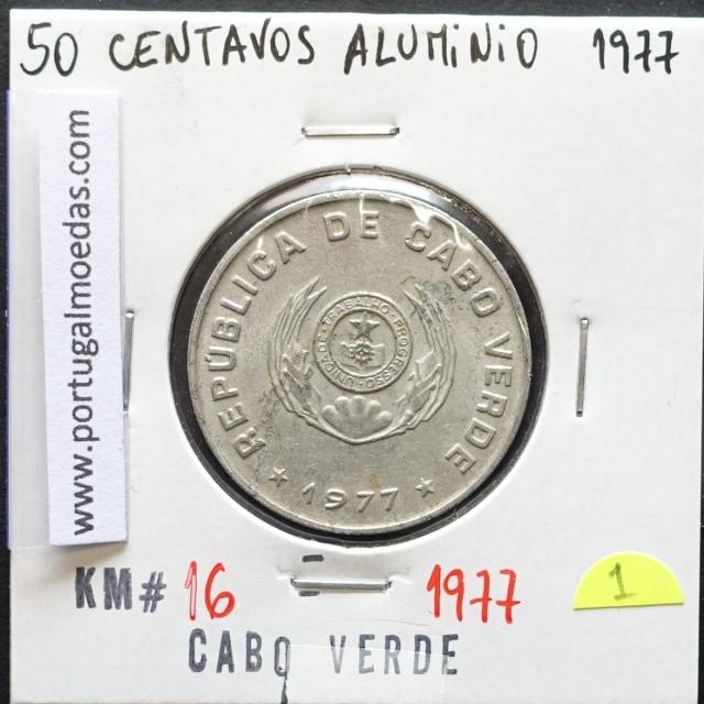 MOEDA DE 50 CENTAVOS 1977 ALUMÍNIO - REPÚBLICA DE CABO VERDE - KRAUSE WORLD COINS CAPE VERDE KM16