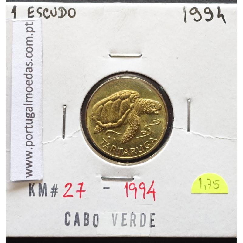 MOEDA DE 1 ESCUDO 1994 AÇO/LATÃO - REPÚBLICA DE CABO VERDE - KRAUSE WORLD COINS CAPE VERDE KM27