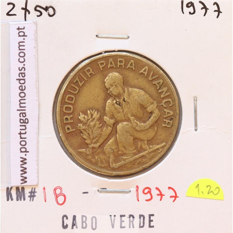 MOEDA DE 2$50 ESCUDO 1977 LATÃO NÍQUEL- REPÚBLICA DE CABO VERDE - KRAUSE WORLD COINS CAPE VERDE KM18