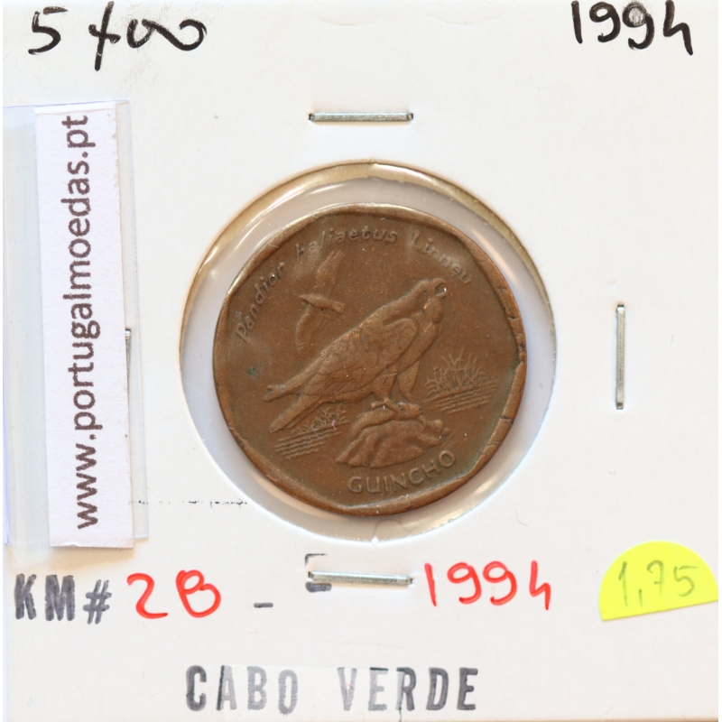 MOEDA DE 5 ESCUDOS 1994 AÇO COBRE - REPÚBLICA DE CABO VERDE - KRAUSE WORLD COINS CAPE VERDE KM28