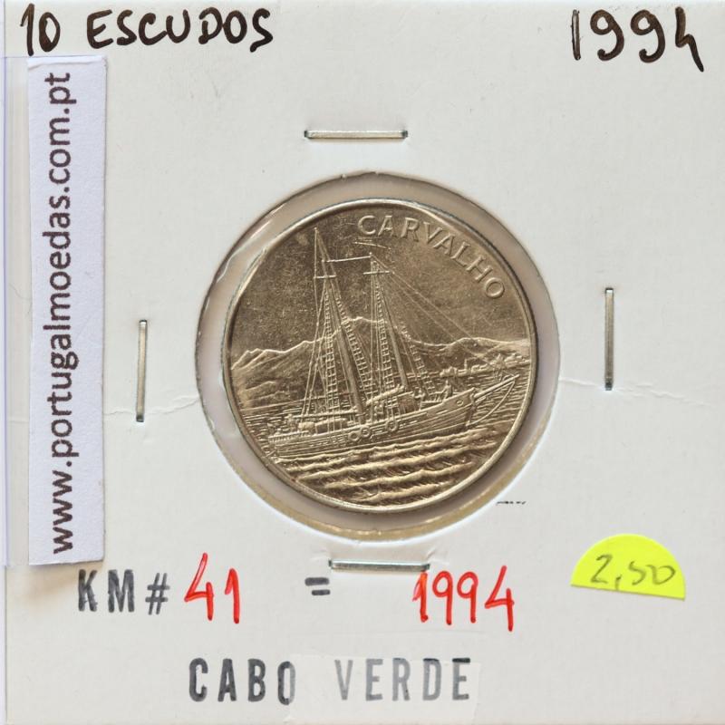 MOEDA DE 10 ESCUDOS 1994 AÇO NIQUELADO - REPÚBLICA DE CABO VERDE - KRAUSE WORLD COINS CAPE VERDE KM41