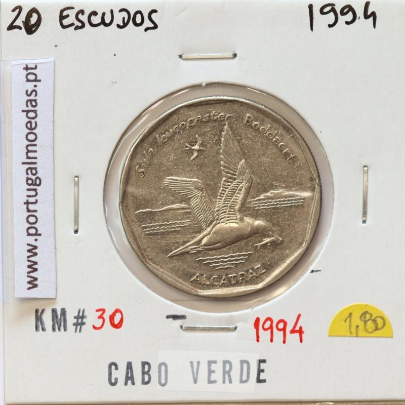 MOEDA DE 20 ESCUDOS 1994 AÇO NIQUELADO - REPÚBLICA DE CABO VERDE - KRAUSE WORLD COINS CAPE VERDE KM30