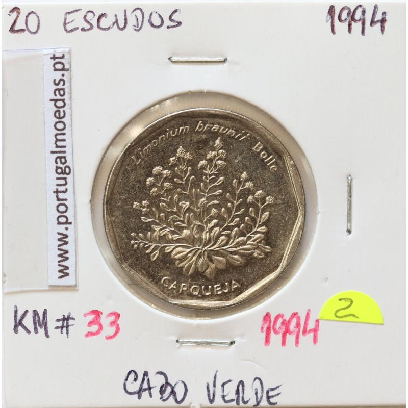 MOEDA DE 20 ESCUDOS 1994 AÇO NIQUELADO - REPÚBLICA DE CABO VERDE - KRAUSE WORLD COINS CAPE VERDE KM33