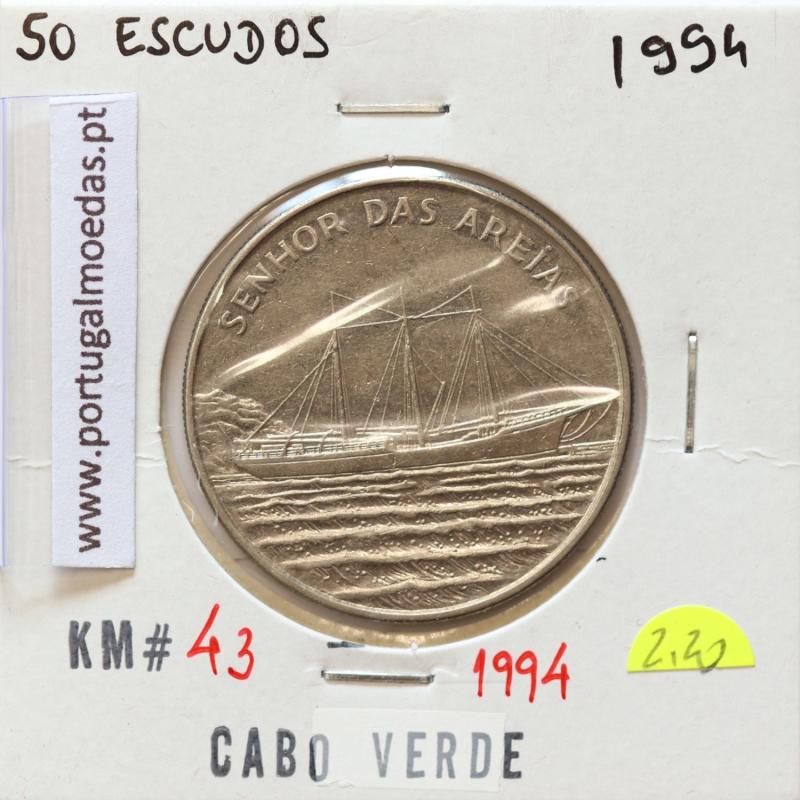 MOEDA DE 50 ESCUDOS 1994 AÇO NIQUELADO - REPÚBLICA DE CABO VERDE - KRAUSE WORLD COINS CAPE VERDE KM43