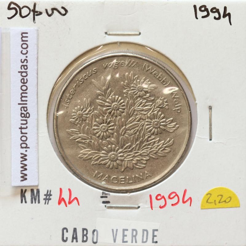 MOEDA DE 50 ESCUDOS 1994 AÇO NIQUELADO - REPÚBLICA DE CABO VERDE - KRAUSE WORLD COINS CAPE VERDE KM44