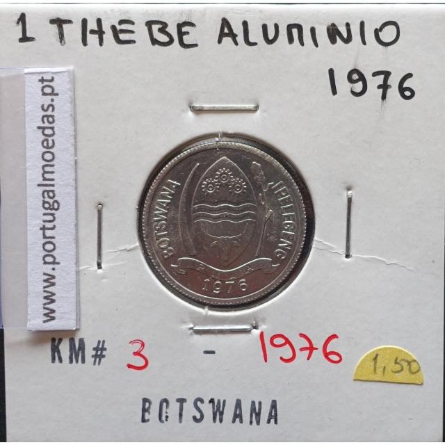 MOEDA DE 1 THEBE ALUMÍNIO 1976 - BOTSWANA - KRAUSE WORLD COINS BOTSWANA KM 3