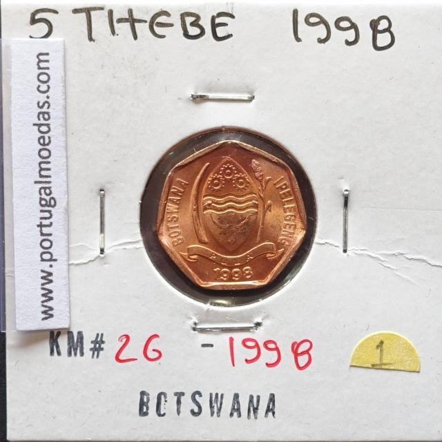 MOEDA DE 5 THEBE AÇO COBRE 1998 - BOTSWANA - KRAUSE WORLD COINS BOTSWANA KM 26