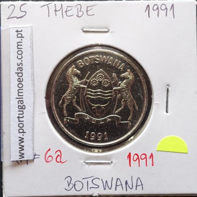 MOEDA DE 25 THEBE AÇO NIQUEL 1991 - BOTSWANA - KRAUSE WORLD COINS BOTSWANA KM 6A