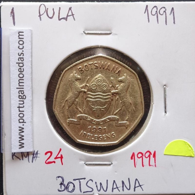 MOEDA DE 1 PULA LATÃO NIQUEL 1991 - BOTSWANA - KRAUSE WORLD COINS BOTSWANA KM 24
