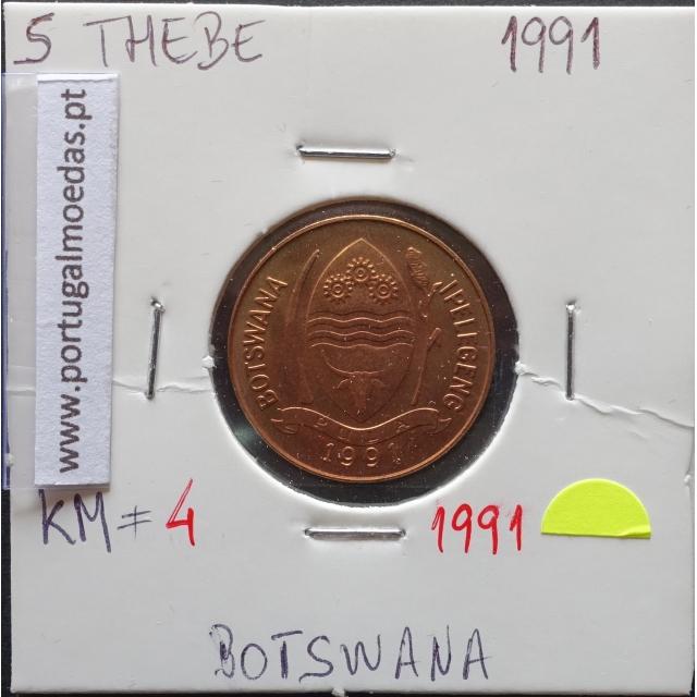 MOEDA DE 5 THEBE BRONZE 1991 - BOTSWANA - KRAUSE WORLD COINS BOTSWANA KM 4