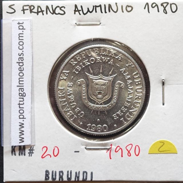 MOEDA DE 5 FRANCS ALUMÍNIO 1980 - BURUNDI - KRAUSE WORLD COINS BURUNDI KM 20