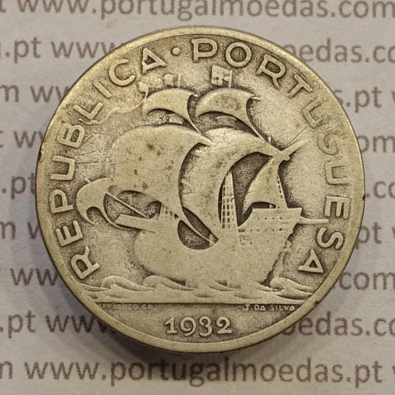 "MOEDA 5$00 ESCUDOS ""CINCO ESCUDOS"" PRATA 1932 (BC) -  REPÚBLICA PORTUGUESA"