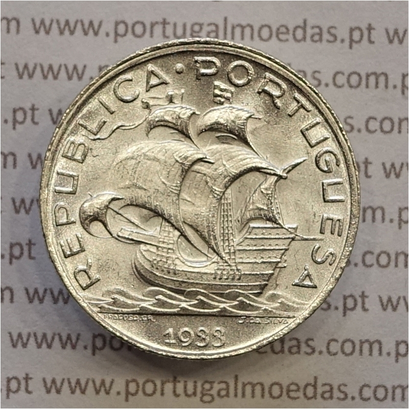 "MOEDA 5$00 ESCUDOS ""CINCO ESCUDOS"" PRATA 1933 (SOBERBA) -  REPÚBLICA PORTUGUESA"