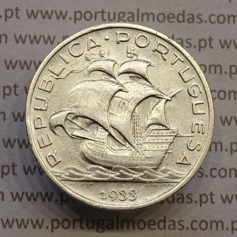 "MOEDA 5$00 ESCUDOS ""CINCO ESCUDOS"" PRATA 1933 (MBC+) -  REPÚBLICA PORTUGUESA"