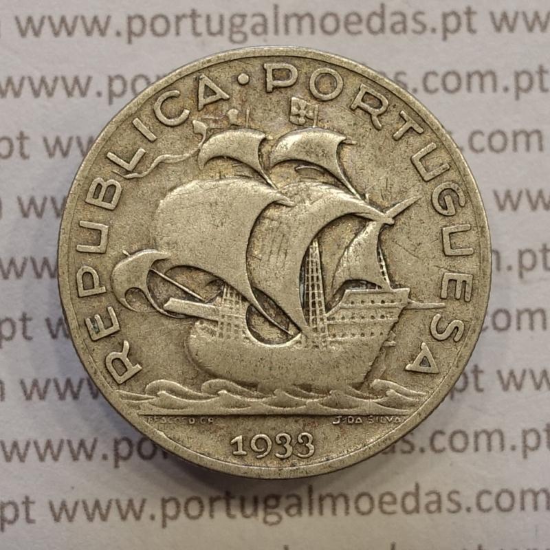 "MOEDA 5$00 ESCUDOS ""CINCO ESCUDOS"" PRATA 1933 (BC+ / MBC-) -  REPÚBLICA PORTUGUESA"