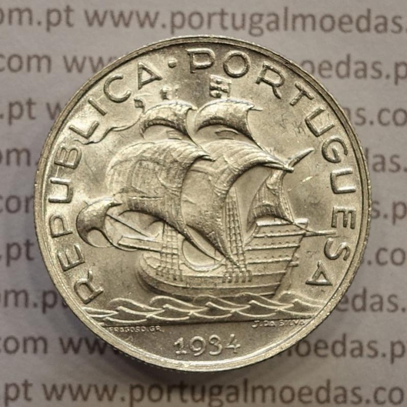 "MOEDA 5$00 ESCUDOS ""CINCO ESCUDOS"" PRATA 1934 (BELA / SOBERBA) -  REPÚBLICA PORTUGUESA"