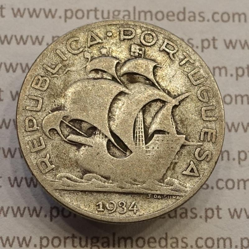 "MOEDA 5$00 ESCUDOS ""CINCO ESCUDOS"" PRATA 1934 (BC) -  REPÚBLICA PORTUGUESA"