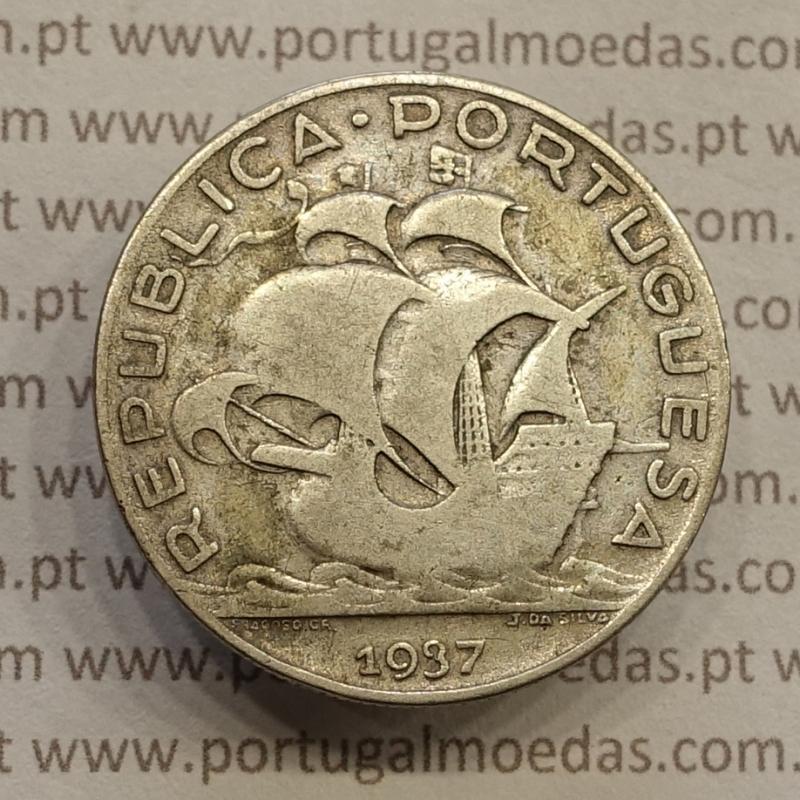 "MOEDA 5$00 ESCUDOS ""CINCO ESCUDOS"" PRATA 1937 (BC) -  REPÚBLICA PORTUGUESA"