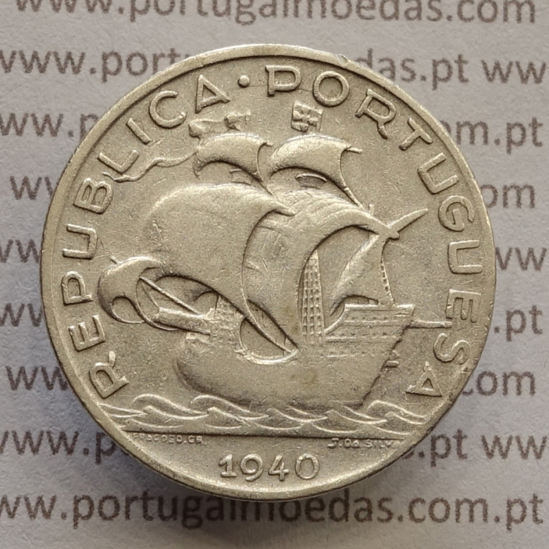 "MOEDA 5$00 ESCUDOS ""CINCO ESCUDOS"" PRATA 1940 (BC) -  REPÚBLICA PORTUGUESA"