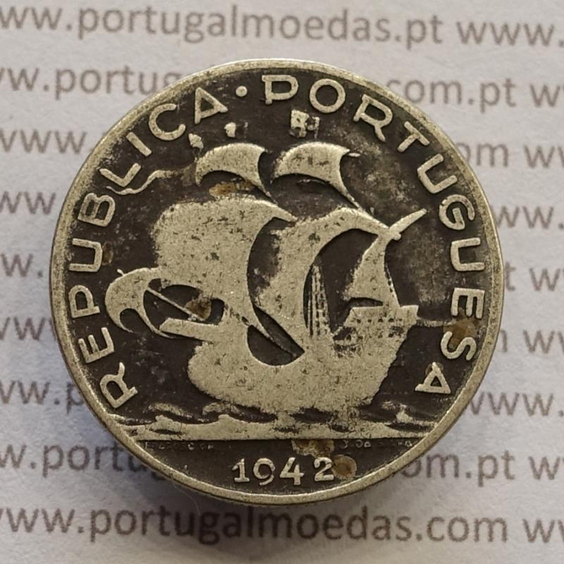 "MOEDA 5$00 ESCUDOS ""CINCO ESCUDOS"" PRATA 1942 (BC) -  REPÚBLICA PORTUGUESA"