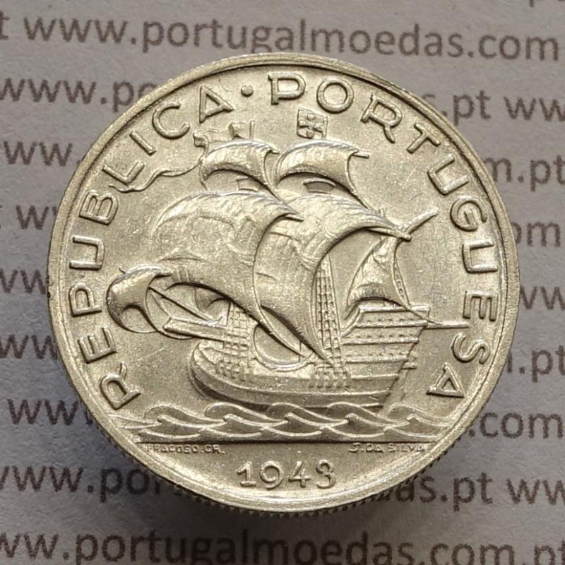 """MOEDA 5$00 ESCUDOS """"CINCO ESCUDOS"""" PRATA 1943 (BELA) -  REPÚBLICA PORTUGUESA"""
