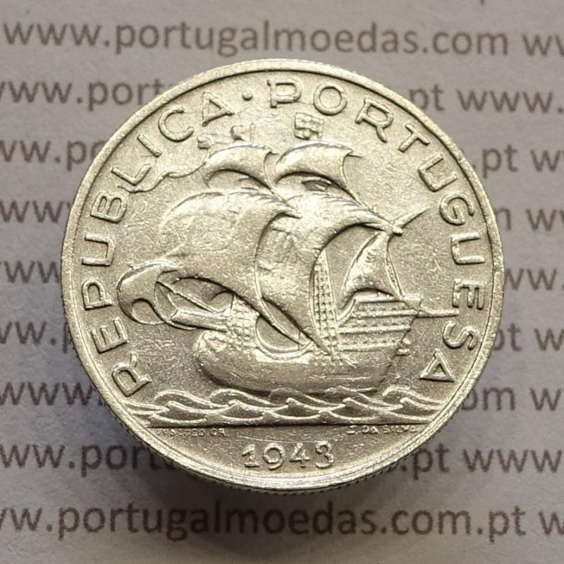"MOEDA 5$00 ESCUDOS ""CINCO ESCUDOS"" PRATA 1943 (MBC) -  REPÚBLICA PORTUGUESA"