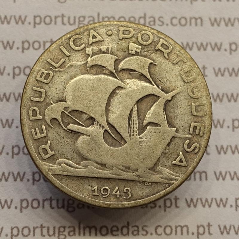 "MOEDA 5$00 ESCUDOS ""CINCO ESCUDOS"" PRATA 1943 (BC) -  REPÚBLICA PORTUGUESA"