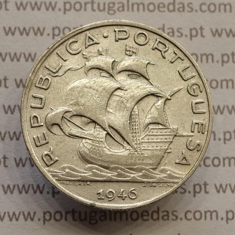 "MOEDA 5$00 ESCUDOS ""CINCO ESCUDOS"" PRATA 1946 (MBC) -  REPÚBLICA PORTUGUESA"