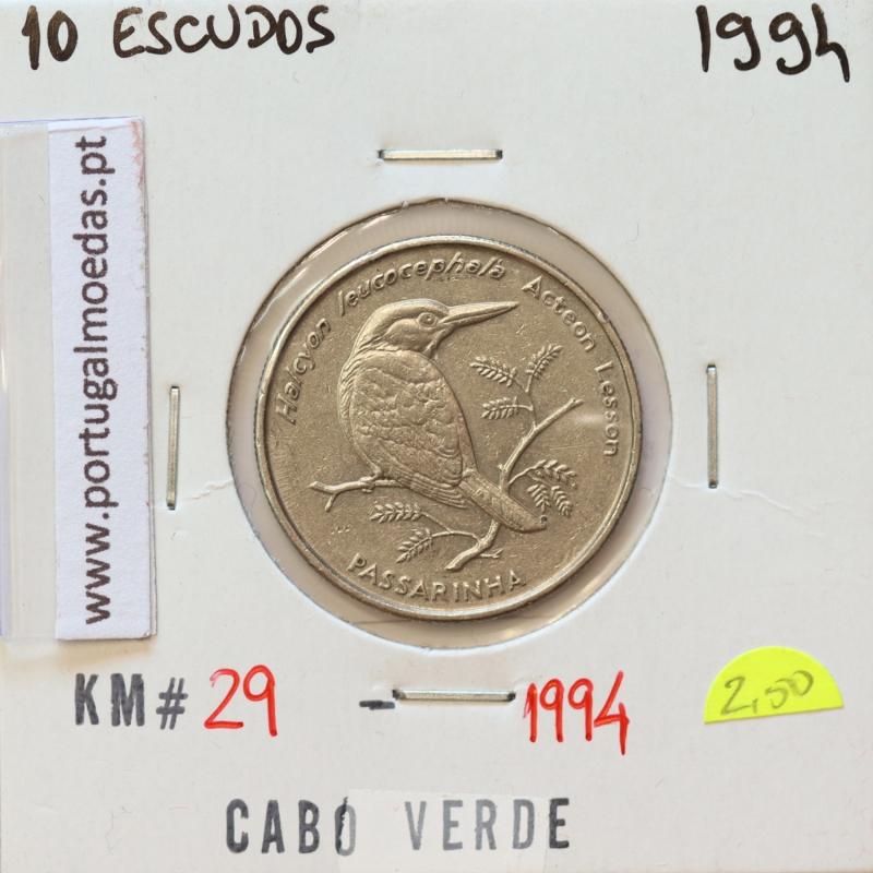 MOEDA DE 10 ESCUDOS 1994 AÇO NIQUELADO - REPÚBLICA DE CABO VERDE - KRAUSE WORLD COINS CAPE VERDE KM29