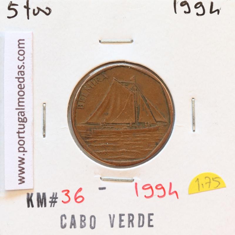 MOEDA DE 5 ESCUDOS 1994 AÇO COBRE - REPÚBLICA DE CABO VERDE - KRAUSE WORLD COINS CAPE VERDE KM36