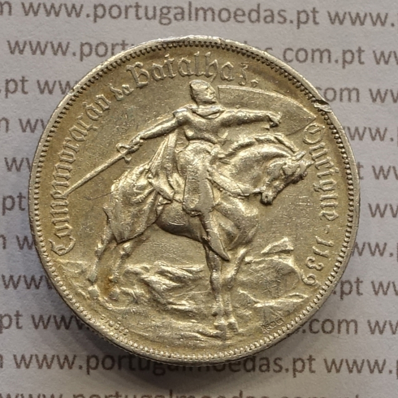 "MOEDA 10$00 ESCUDOS ""DEZ ESCUDOS"" PRATA 1928 BATALHA DE OURIQUE (MBC-) -  REPÚBLICA PORTUGUESA"