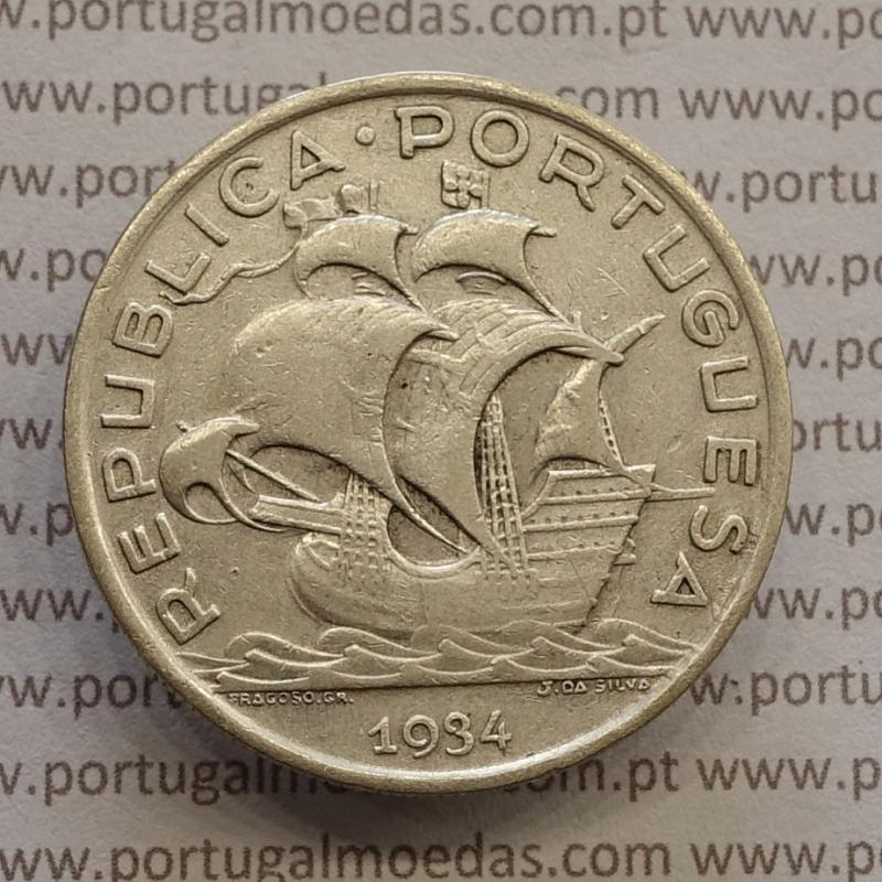 "MOEDA 10$00 ESCUDOS ""DEZ ESCUDOS"" PRATA 1934 (MBC) -  REPÚBLICA PORTUGUESA"