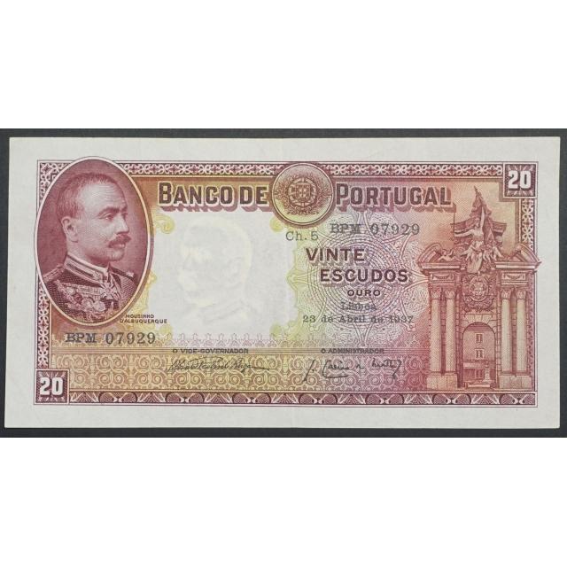 """NOTA DE 20 ESCUDOS 1937 ( POUCO CIRCULADA ) """"20$00 1937 Ch.5 MOUSINHO D'ALBUQUERQUE - BANCO DE PORTUGAL (23/04/1937)"""