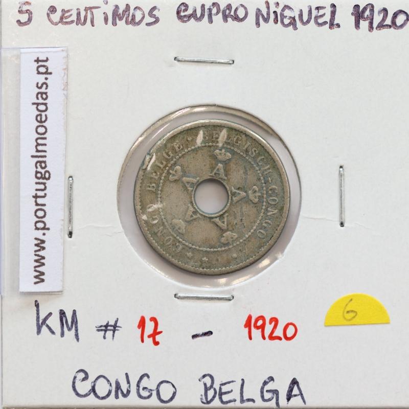 MOEDA DE 5 CENTIMES CUPRO NÍQUEL 1920 - CONGO BELGA - KRAUSE WORLD COINS BELGIAN CONGO KM 17
