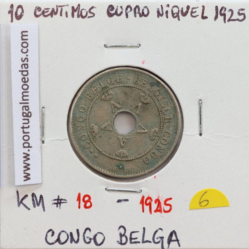 MOEDA DE 10 CENTIMES CUPRO NÍQUEL 1925 - CONGO BELGA - KRAUSE WORLD COINS BELGIAN CONGO KM 18