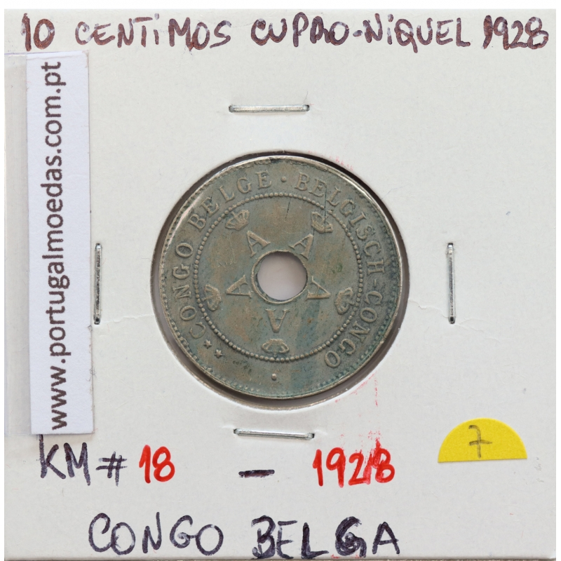 MOEDA DE 10 CENTIMES CUPRO NÍQUEL 1928 - CONGO BELGA - KRAUSE WORLD COINS BELGIAN CONGO KM 18