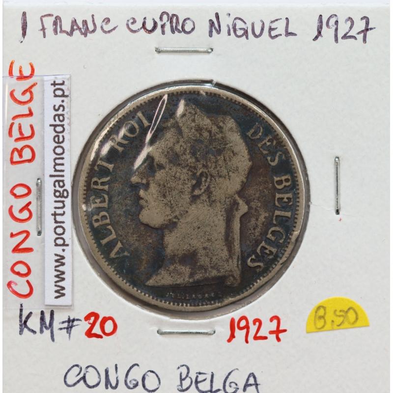 MOEDA DE 1 FRANC CUPRO NÍQUEL 1927 - CONGO BELGA - KRAUSE WORLD COINS BELGIAN CONGO KM 20
