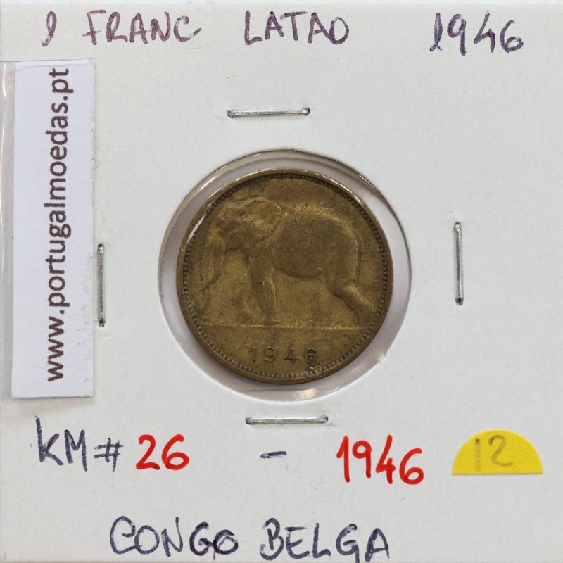 MOEDA DE 1 FRANC LATÃO 1946 - CONGO BELGA - KRAUSE WORLD COINS BELGIAN CONGO KM 26
