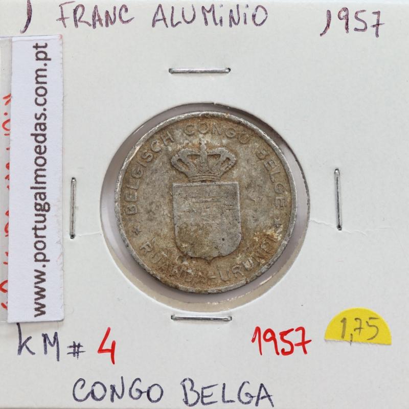 MOEDA DE 1 FRANC ALUMINÍO 1957 - CONGO BELGA - KRAUSE WORLD COINS BELGIAN CONGO KM 4