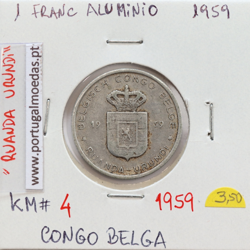 MOEDA DE 1 FRANC ALUMINIO 1959 - CONGO BELGA - KRAUSE WORLD COINS BELGIAN CONGO KM 4