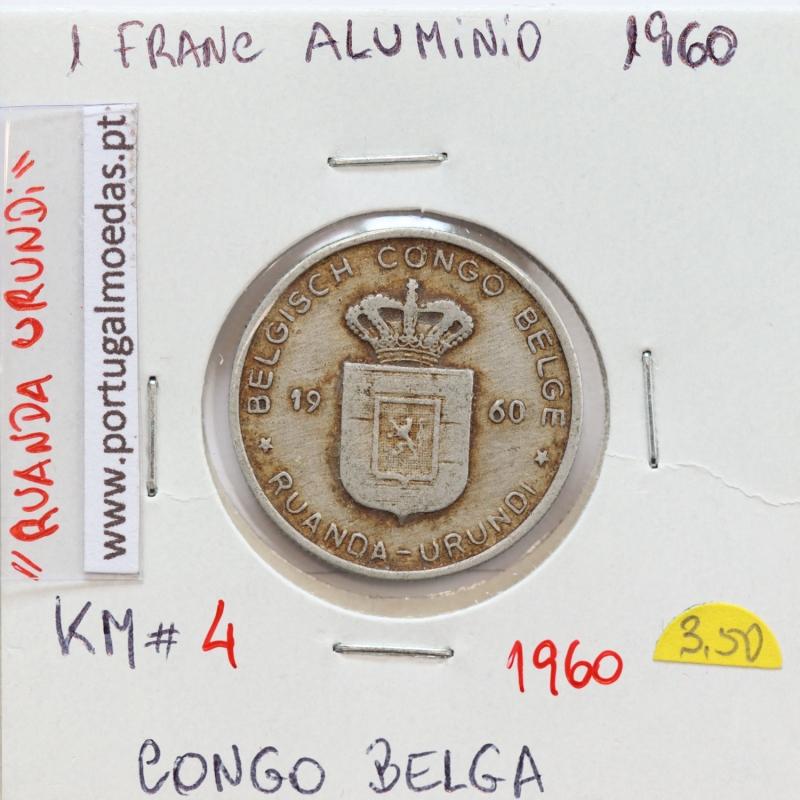 MOEDA DE 1 FRANC ALUMINIO 1960 - CONGO BELGA - KRAUSE WORLD COINS BELGIAN CONGO KM 4