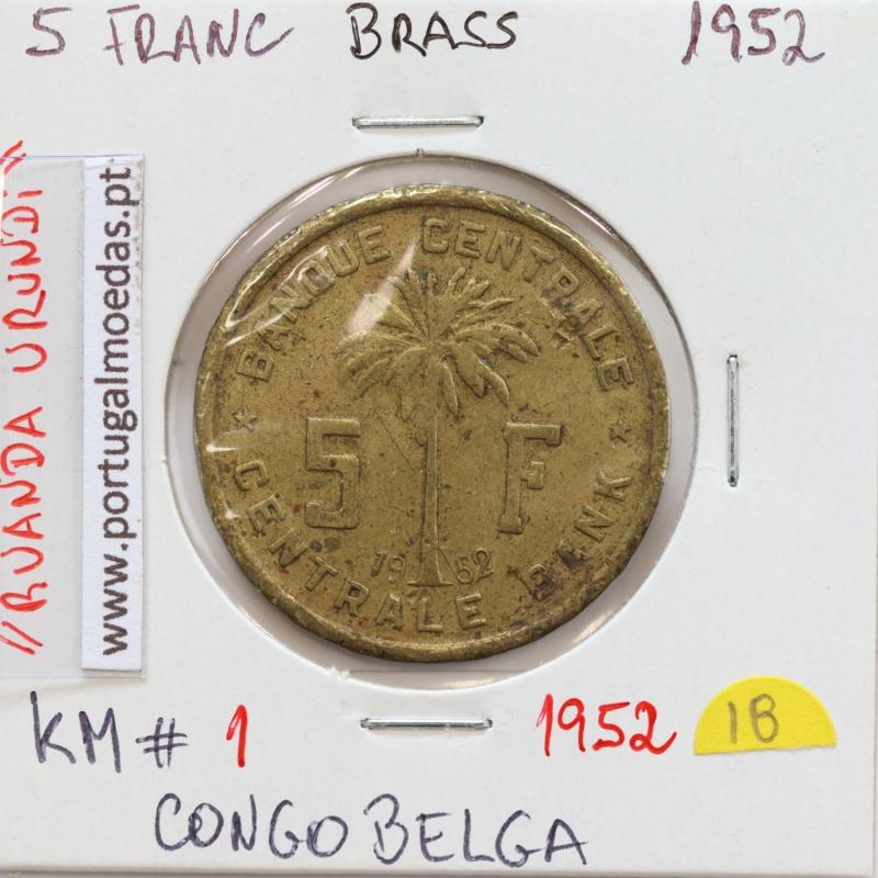 MOEDA DE 5 FRANCS LATÃO 1952 - CONGO BELGA - KRAUSE WORLD COINS BELGIAN CONGO KM 1
