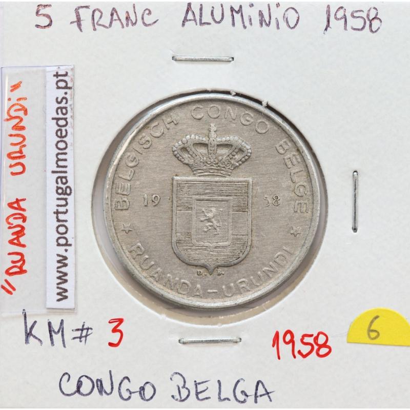 MOEDA DE 5 FRANCS ALUMINIO1958 - CONGO BELGA - KRAUSE WORLD COINS BELGIAN CONGO KM 3