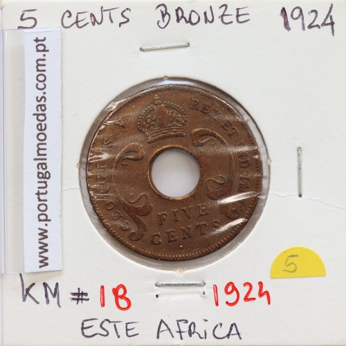 MOEDA DE 5 CENTS BRONZE 1924- ÁFRICA ORIENTAL - KRAUSE WORLD COINS EAST AFRICA KM 18