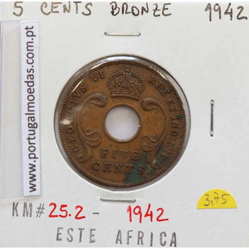 MOEDA DE 5 CENTS BRONZE 1942- ÁFRICA ORIENTAL - KRAUSE WORLD COINS EAST AFRICA KM 25.2