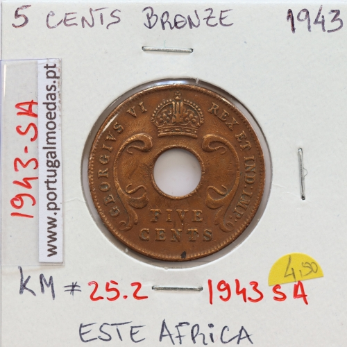 MOEDA DE 5 CENTS BRONZE 1943- ÁFRICA ORIENTAL - KRAUSE WORLD COINS EAST AFRICA KM 25.2