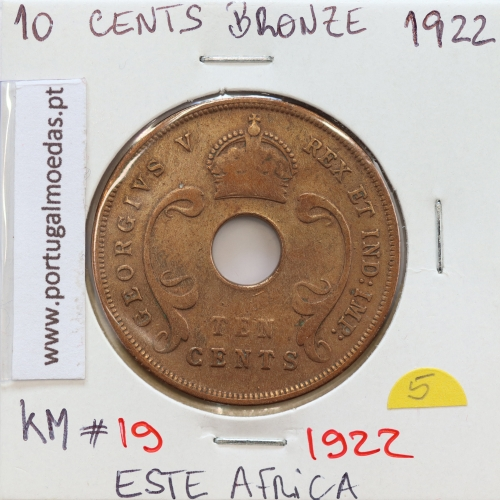 MOEDA DE 10 CENTS BRONZE 1922- ÁFRICA ORIENTAL - KRAUSE WORLD COINS EAST AFRICA KM 19