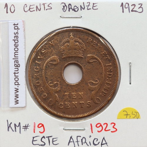 MOEDA DE 10 CENTS BRONZE 1923- ÁFRICA ORIENTAL - KRAUSE WORLD COINS EAST AFRICA KM 19