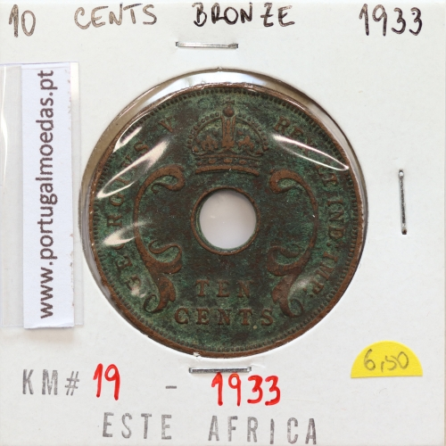MOEDA DE 10 CENTS BRONZE 1933- ÁFRICA ORIENTAL - KRAUSE WORLD COINS EAST AFRICA KM 19