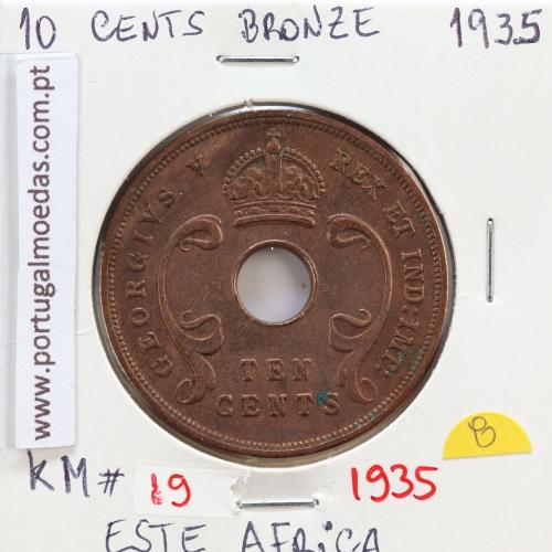 MOEDA DE 10 CENTS BRONZE 1935- ÁFRICA DE ORIENTAL - KRAUSE WORLD COINS EAST AFRICA KM 19